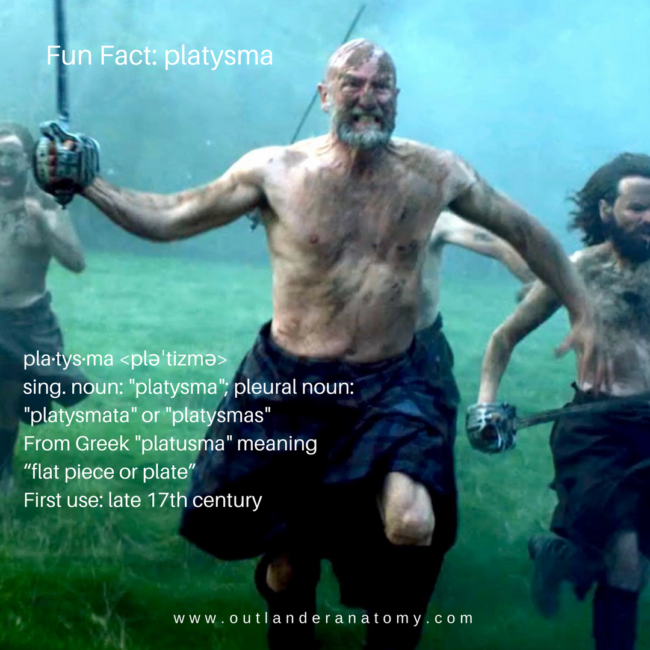 Dougal Mackenzie making a fierce face and on the battlefield used in a fun fact on Outlander Anatomy about platysma.