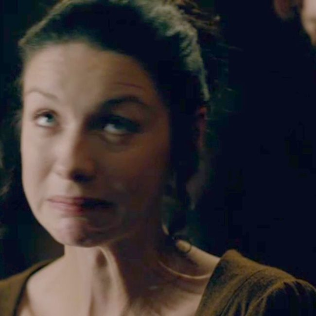 Claire Fraser making a face used in a fun fact on Outlander Anatomy about platysma.
